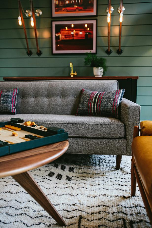 Gathering Room With Retro Gray Sofa