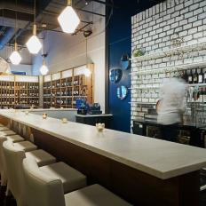 Contemporary Wine Bar Features Sleek Finishes