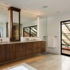 Neutral Modern Master Bathroom With Glass Door