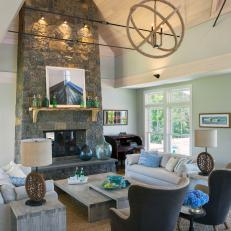 cape cod great room with stone fireplace