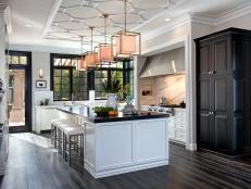 White Transitional Chef Kitchen With Large Island