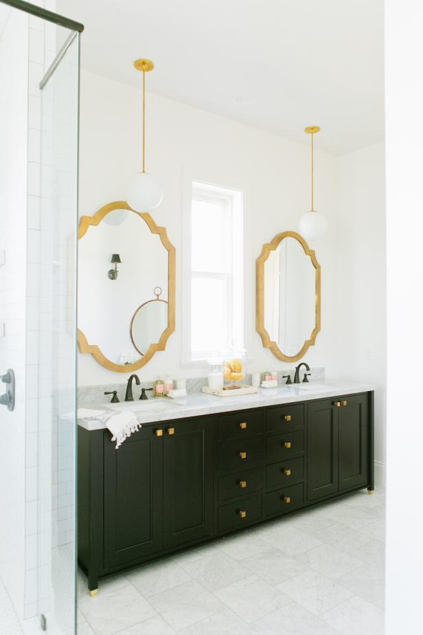 Bright Master Bathroom With Chic Gold Accents