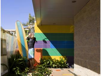 Colorful Entry With Concrete Paver Walkway