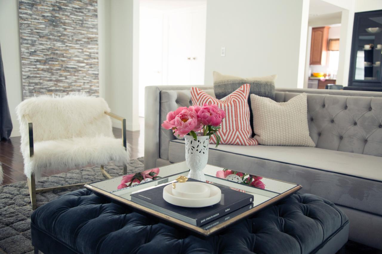 Colorful Accents Pop In Monochromatic Living Room