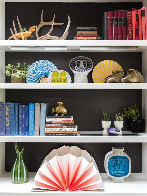 Accessories & Art on Gray Bookshelf