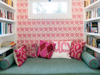 Colorful and Cozy Nook with Bold Graphic Accent Wall
