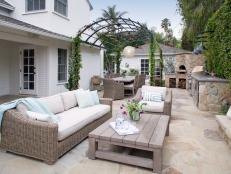 Spacious Neutral Backyard Boasts Outdoor Living Room