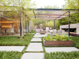 Modern Outdoor Terrace With Custom Pergola