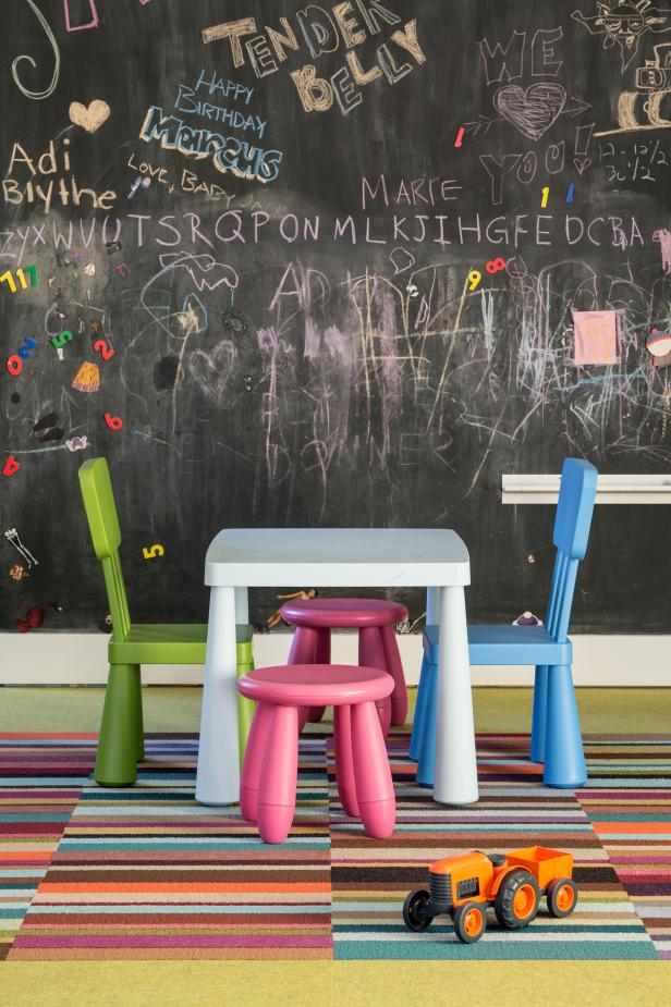 Contemporary Playroom With Engaging Chalkboard Wall