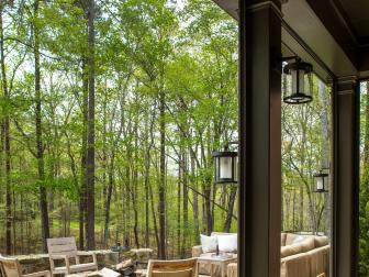 Patio Features Rocking Chairs & Stone Fire Pit
