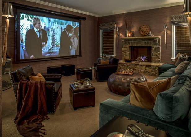 Cozy Media Room With Projection Screen