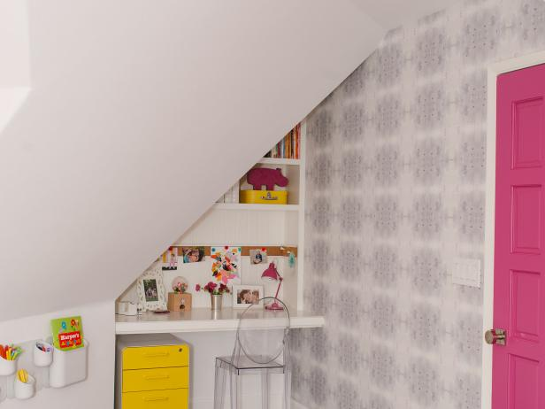 White, Modern Girls Room with Pink Door