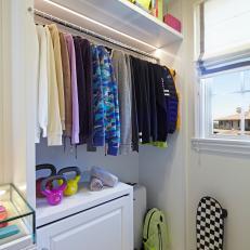 Bright White Luxury Walk-in Closet With Custom Shelves