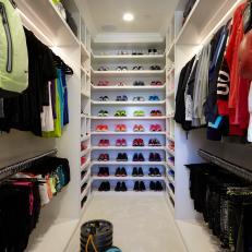 Luxurious Walk-In Closet With Custom Lighting