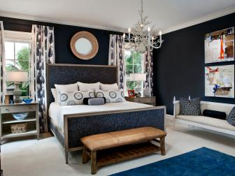 Navy Bedroom with Upholstered Headboard