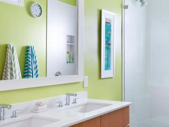 Green Contemporary Bathroom With Striped Towels
