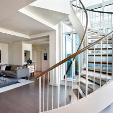 Boston Penthouse With Spiral Staircase and Contemporary Living Room