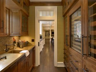Traditional Butler's Pantry With Beautiful Wood Cabinets