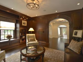 Warm, Welcoming Home Library Boasts Rich Wood Paneling