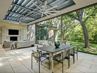 Contemporary Open-Air Living and Dining Rooms
