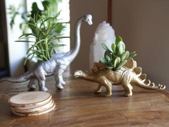 Metallic Dinosaur Planters