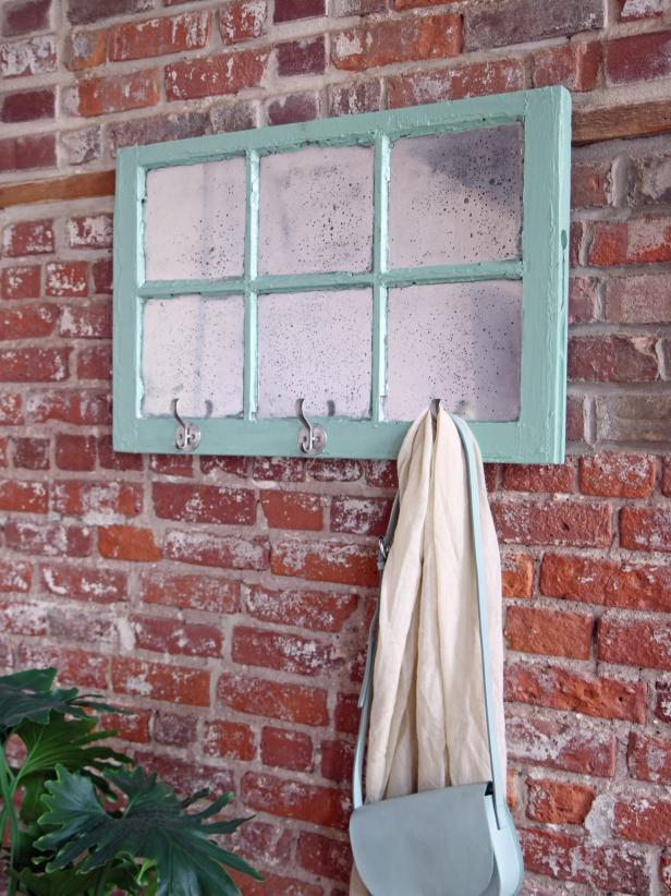 Mercury Glass Window With Hooks