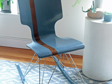 Use an old chair, repurposed wood rockers and a fresh coat of paint to make a one-of-a-kind rocking chair.