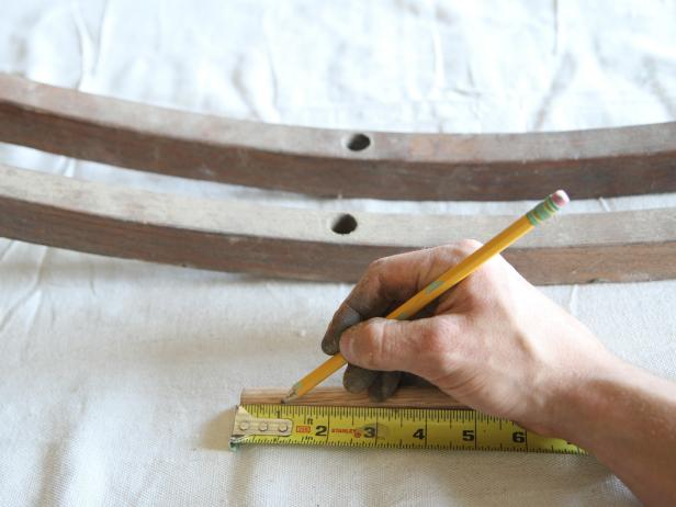 "Measure and mark 3/4"" hardwood dowel at 1"" with a pencil."