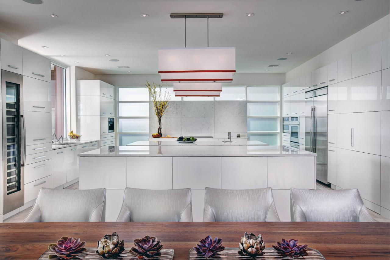 eat in kitchen boasts sleek streamlined look - Contemporary Kitchen Cabinet Doors