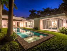 Mid-Century Modern House with Pool, Outdoor Lighting