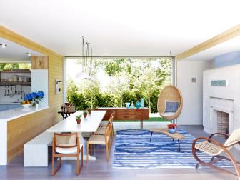 Midcentury Modern Open-Plan Living and Dining Space