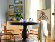 Blue Transitional Craft Room With Pedestal Table