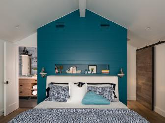 White Bedroom with Peacock Blue Partition