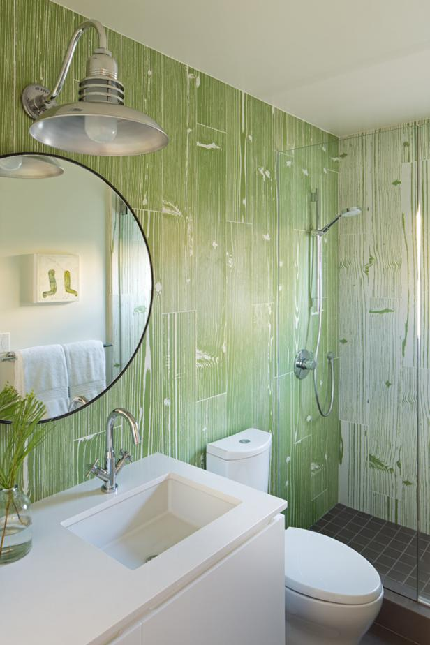 Green and White Transitional Guest Bathroom