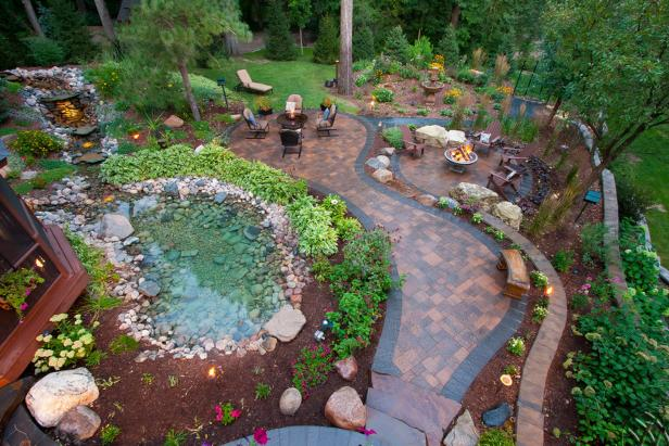 Enchanting Cottage Backyard With Paver Patio Walkway, Natural Rock Pond And  Cozy Sitting Areas