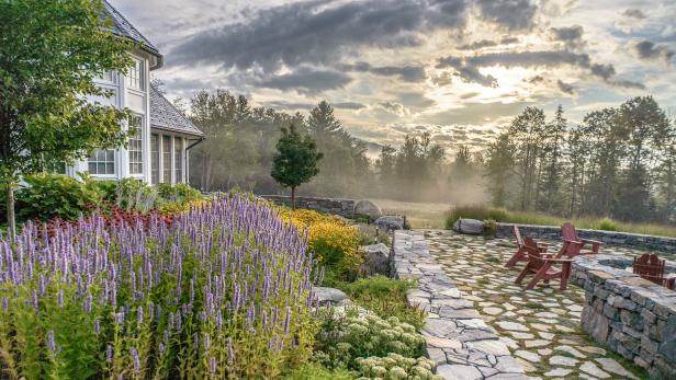 Bucolic Outdoor Space with Masonry and Stone Pavers