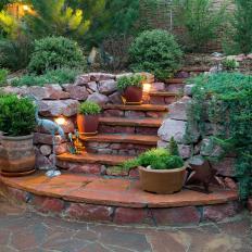 Stone Steps Lead To Hillside Garden