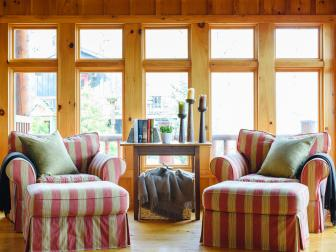 Sitting Area in Pine-Clad Great Room With Country Charm