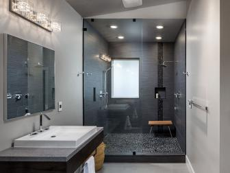 Black Shower Provides Subtle Contrast in Soft Gray, Contemporary Bathroom