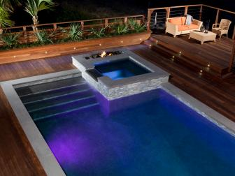 Contemporary Deck With Pool and Hot Tub