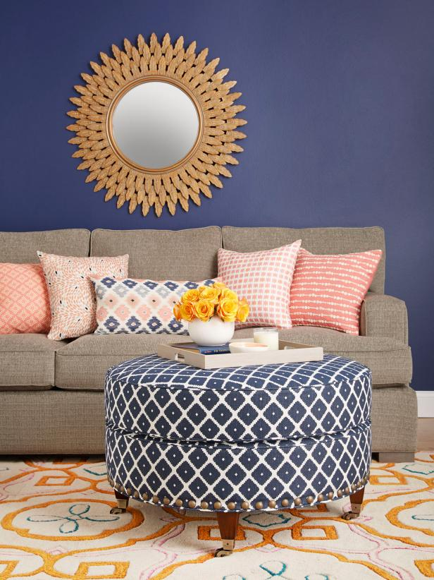 AFTER: Navy Patterned Ottoman