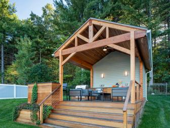 Poolhouse With Covered Cedar Deck and Sitting Area