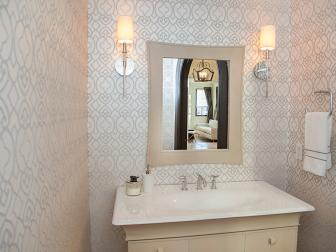 Neutral Powder Room With Architectural Wallpaper