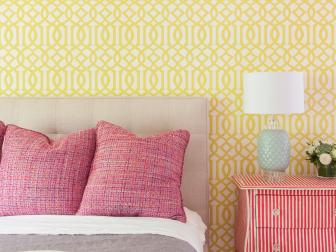 Geometric Wallpaper in Bedroom with Bold, Accent Pieces