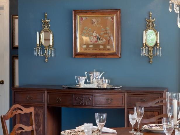 Formal Dining Room Wows With Blue, Antique Sideboard & Heirloom Needlepoint
