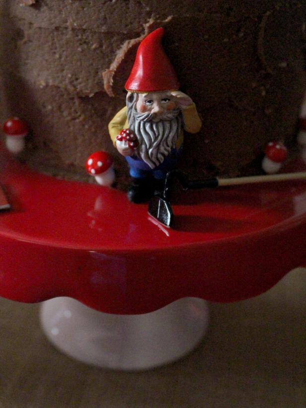 Gnome Decor on Chocolate Cake