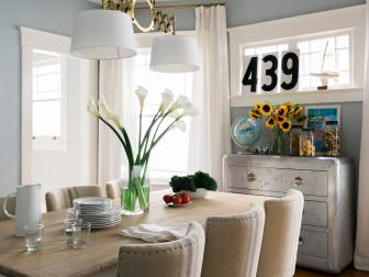 Family-Friendly Blue Transitional Dining Room