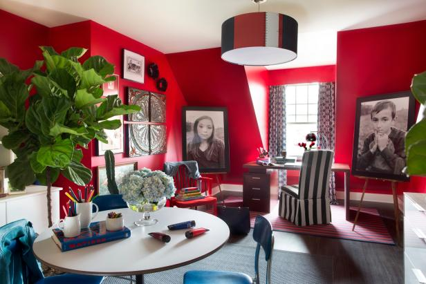 Bold Red Crafting and Home Office Space With Patriotic Theme
