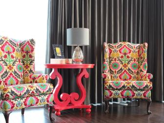 Floral Wingback Chairs and Pink End Table in Eclectic Loft