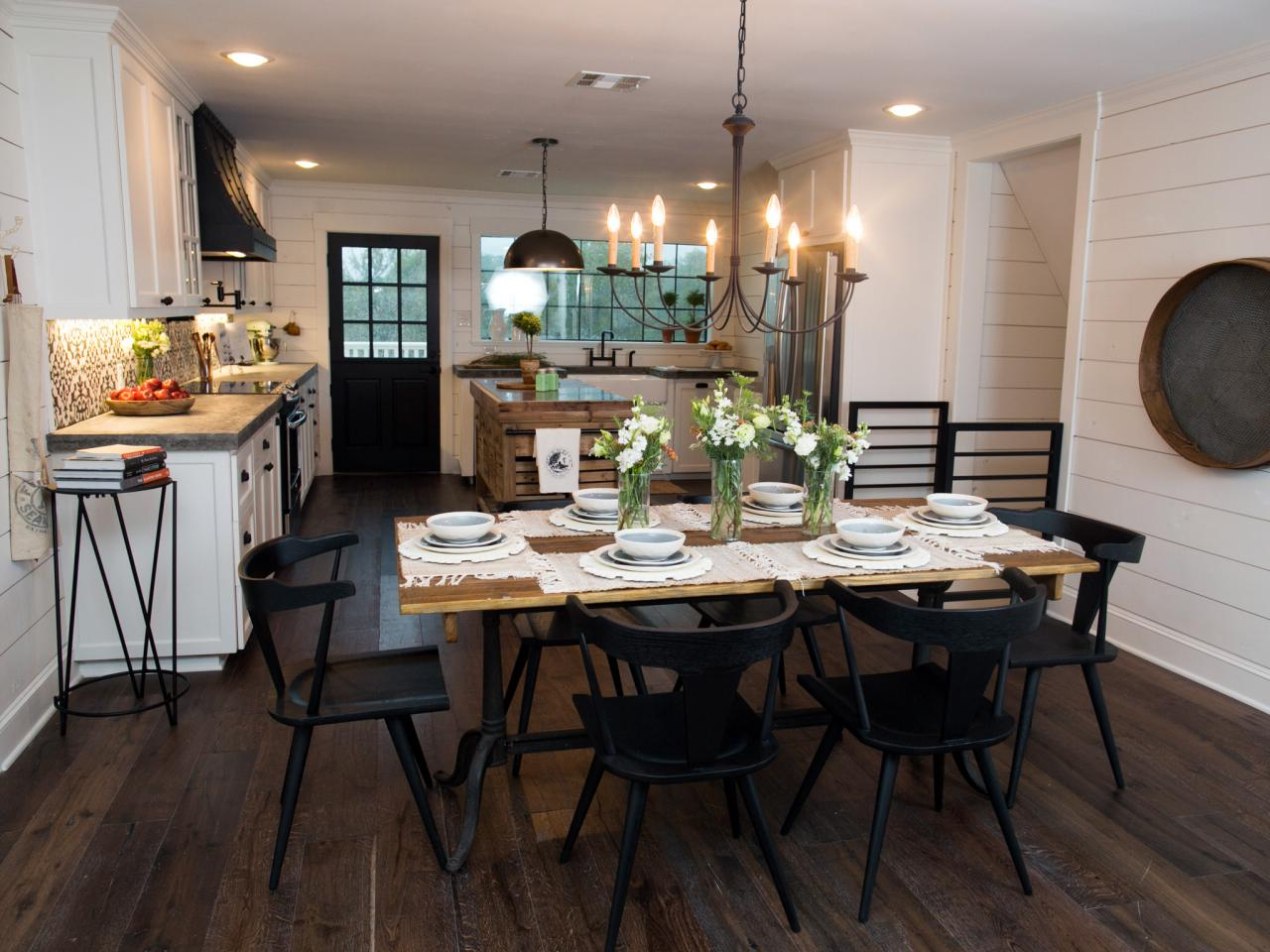 Chip and joanna gaines transform a barn into a rustic home for Kitchen dining hall design